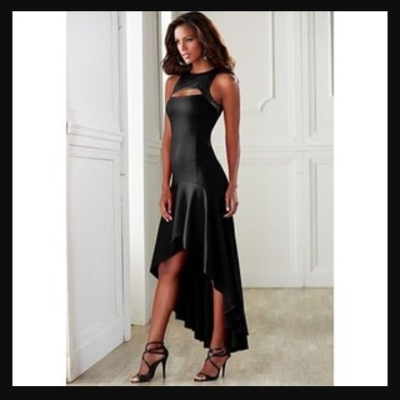 Venus Black Tail Dress Leather Like Top Size 10 Nwt Asymmetricalhem