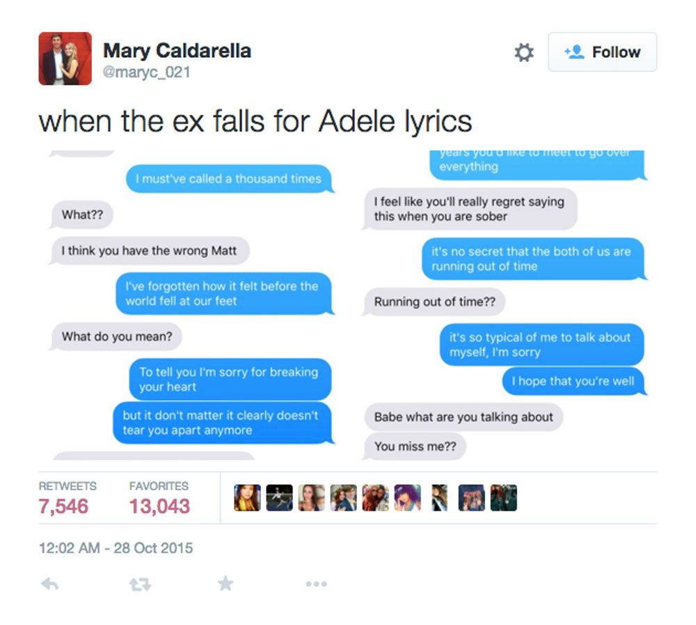 237effb8f93f38709aaba7377442b728 here's what happens when you text your unsuspecting ex sad adele
