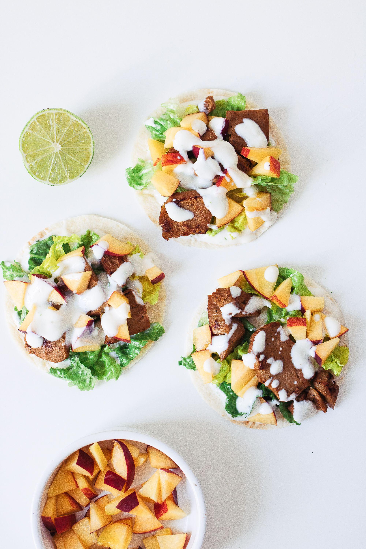 Vegan Taco Tuesday: Taco with vegan chicken, peaches and lime yogurt.