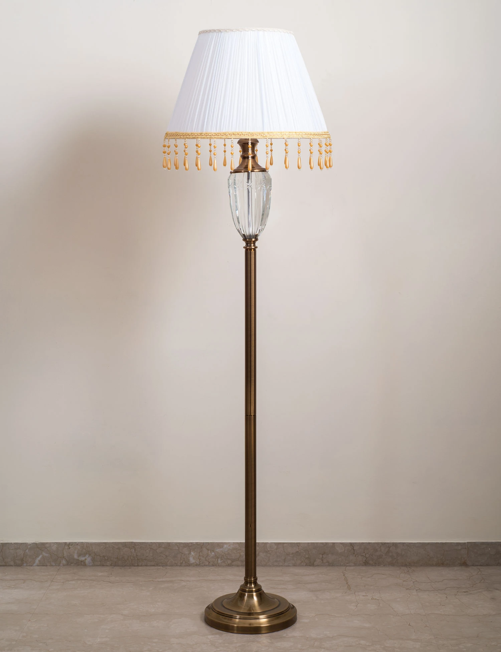 Buy Online Metal With Brass Finish Crystal Floor Lamps With Cloth Shade In India Thedecorkart In 2020 Crystal Floor Lamp Floor Lamp Crystal Floor