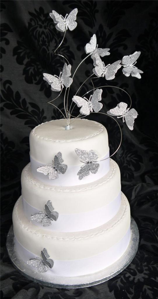 Handmade Flutter Butterfly Glitter Cake Topper