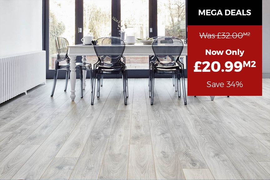 Vantage 12mm Laminate Flooring Highland silver Oak