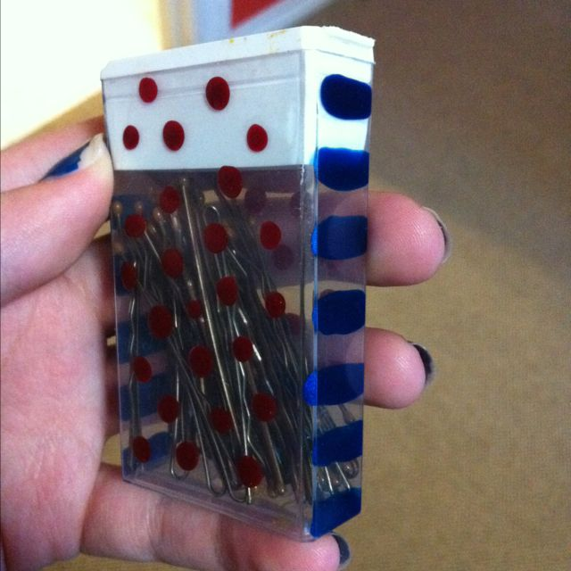 A tic tac box to store your bobby pins! And decorate it your way with nail polish!