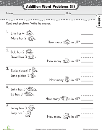 Word Problem Round Up Addition 2 Worksheet Education Com Word Problems Addition Word Problems Math Word Problems