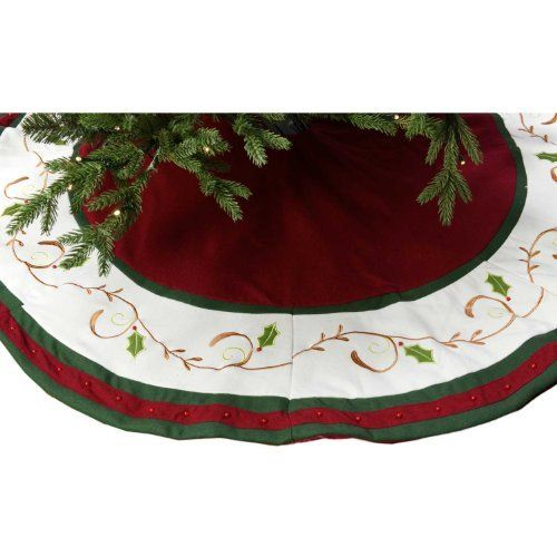 "56"" Velvet Burgundy Tree Skirt with Holly Design by Seasons Designs, http://www.amazon.com/dp/B00A3IJNPM/ref=cm_sw_r_pi_dp_3HJ1rb195SB6Z"