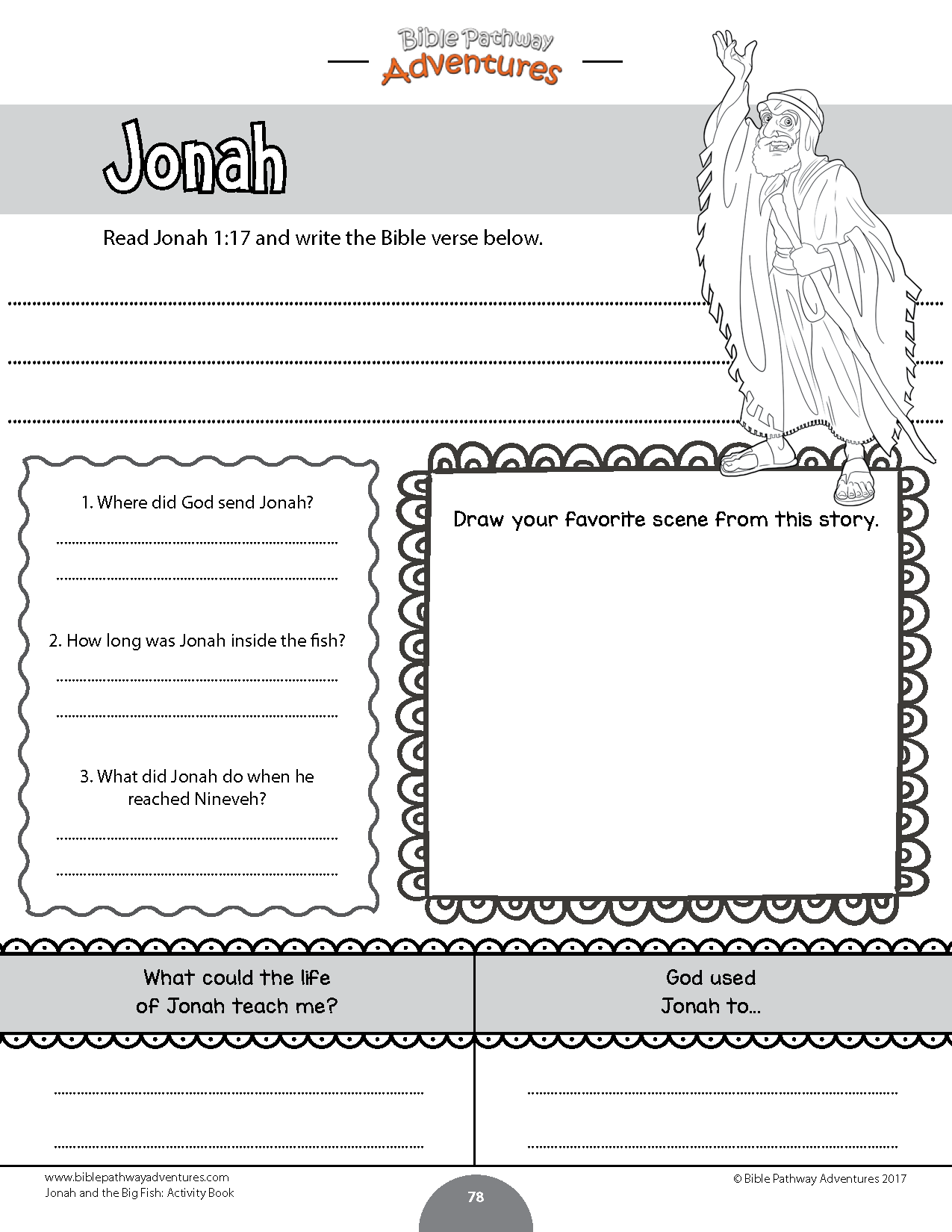 Jonah And The Fish Bible Activity Book