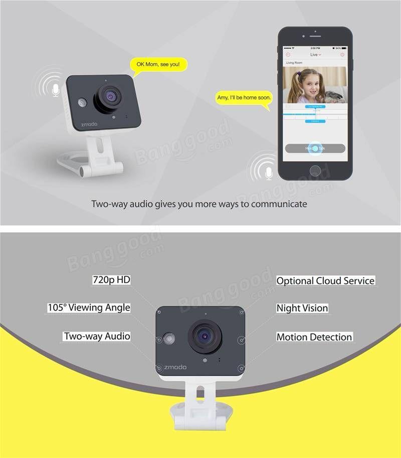 Zmodo 720p Hd Wifi Mini Color Sensor Home Security Ip Night Vision Camera Zm Sh75d001 At Banggood