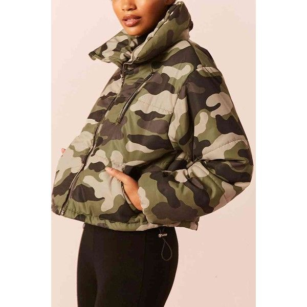 d3beffdb9 Forever21 Camo Print Puffer Jacket ($35) ❤ liked on Polyvore ...