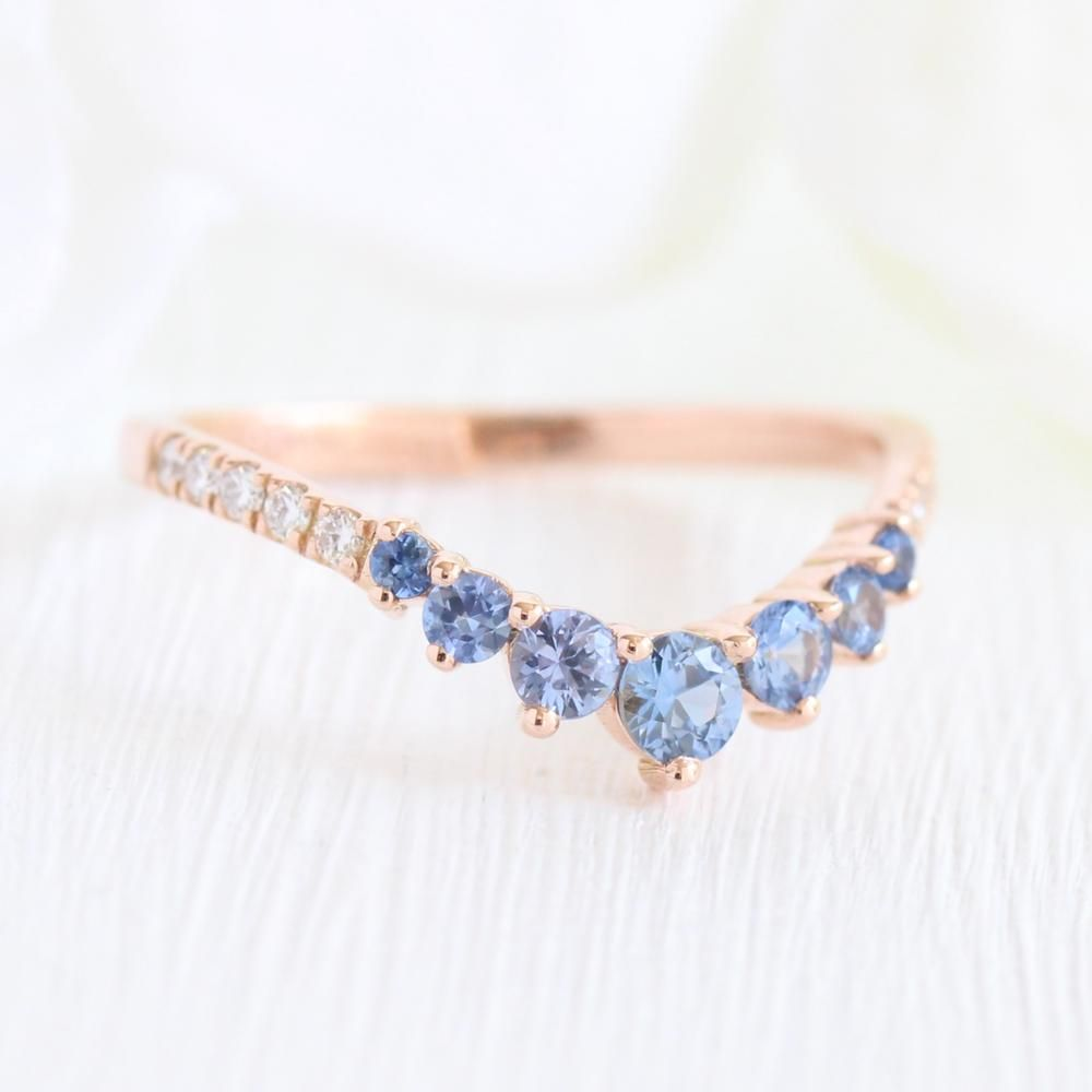 Curved 7 Stone Aqua Blue Sapphire Ring In Rose Gold Pave Diamond Band Blue Wedding Rings Sapphire Diamond Wedding Band Diamond Wedding Bands
