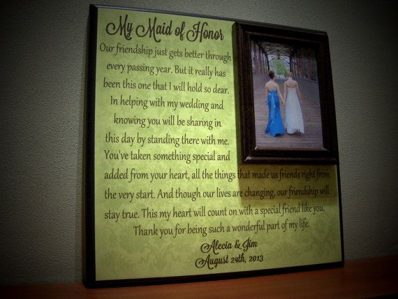 Perfect Wedding Gift For Sister: Custom Maid Of Honor Picture Frame Wedding By