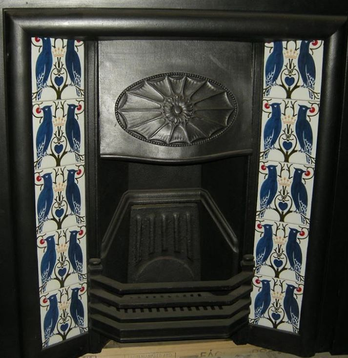 A Beautiful Voysey Design Is Shown On This Beautifully Reproduced Fireplace Tile Set The Pattern