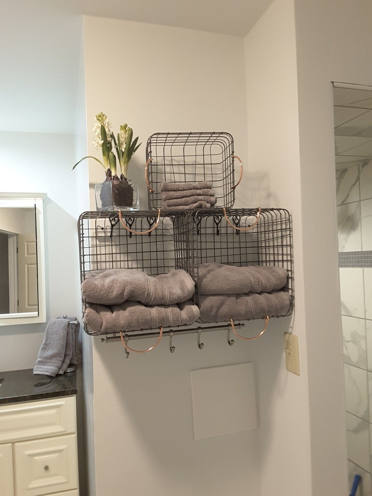 Using Wire Baskets Wall Hooks And Towel Rack Bathroom Furniture Bathroom Layout Plans Furniture