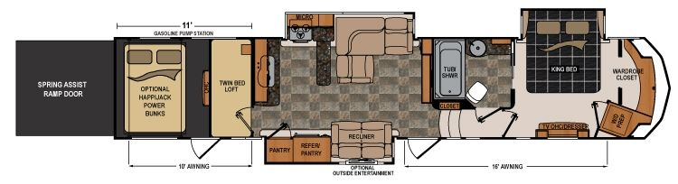 Voltage 3970 rv luxury toyhaulers pinterest rv and - Front living room 5th wheel toy hauler ...