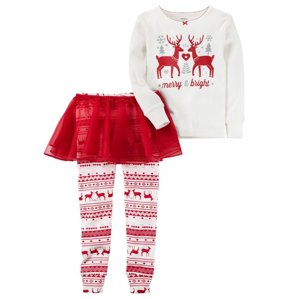 2372c40a37fe Carters 3 Piece SET Merry   Bright Reindeer Love Hearts Pajama ...