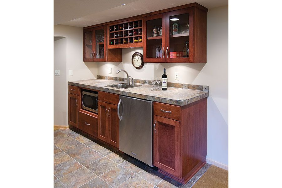 Basement Kitchenette With Bar: This Linear Walk Up Bar Is The Perfect Size For Display