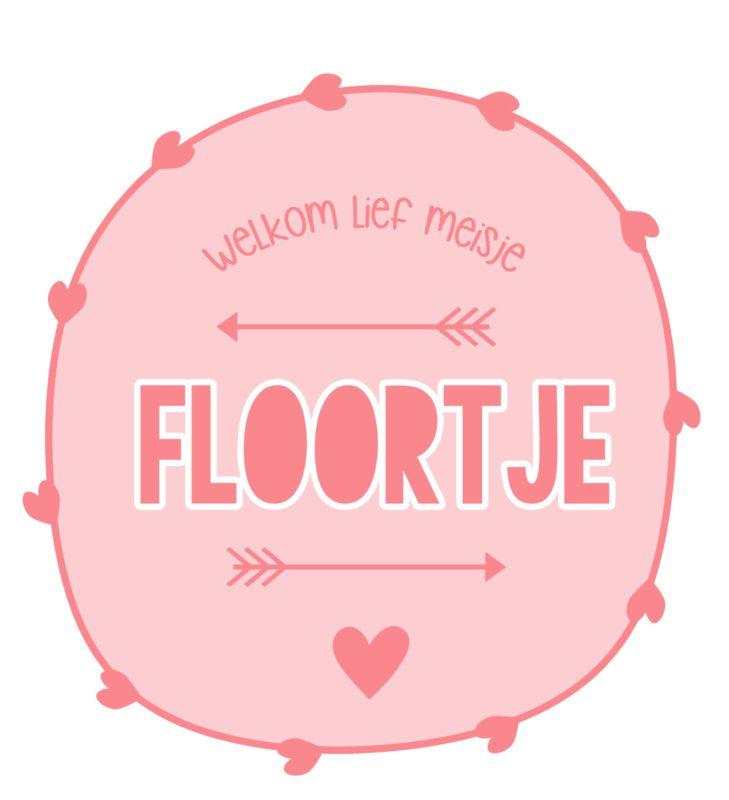 Geboortesticker full colour met hartjes  type Floortje