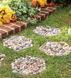 River Rocks Beautify Any Setting Create a natural stone garden path with a set of River Rock Stepping Stones leading the way. Naturally smooth, multicolored stones are set on a PVC backing that can be laid over grass, sand, mud, even wet areas