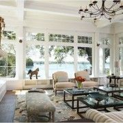 Inspiring Decorate a Living Room with Large Windows and Classic Chandelier feat Beautiful View - Beautiful Window Treatments for Room Ideas **Love the idea of the small portico