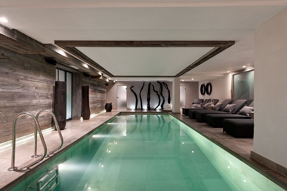 chalet no.14 - verbier, switzerland elongated swimming pool and