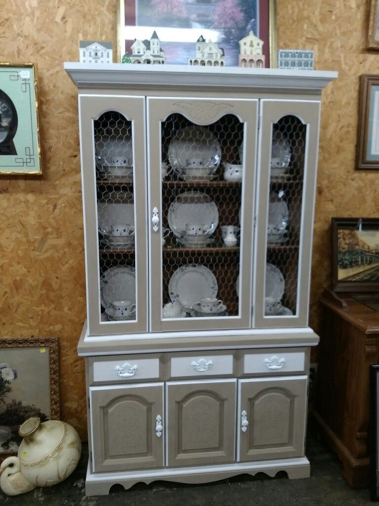 This Two Piece China Cabinet I Chose A Textured Seude Finish With White  Chalk Paint Trim