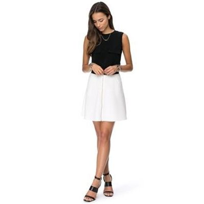 Zalora - Zip Front A Line Skirt - Skirts (Beige & Black) #Female