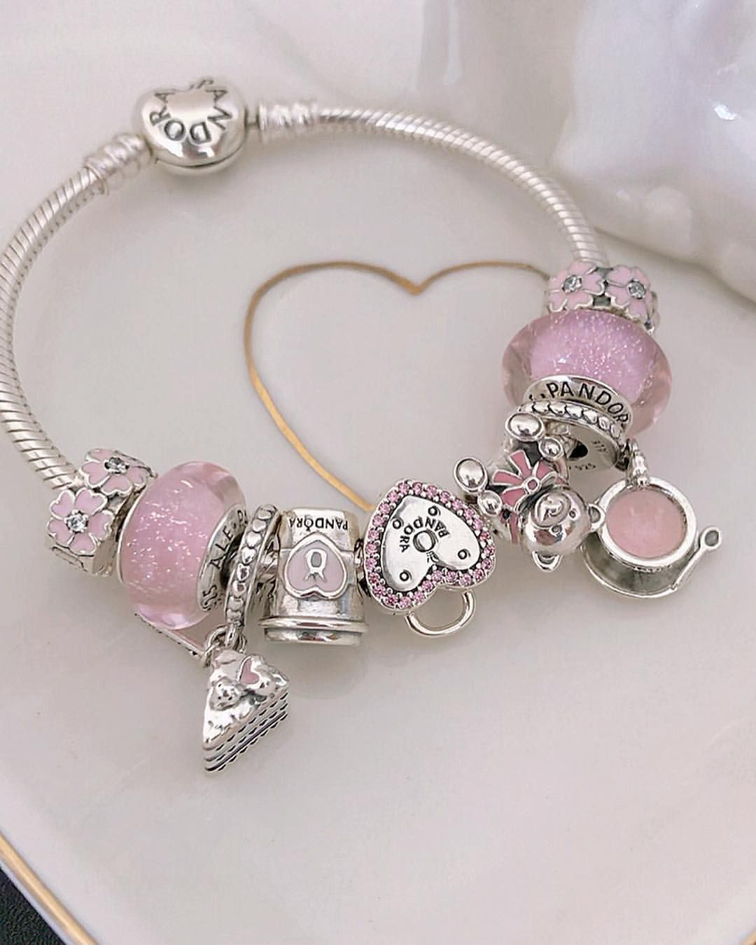 Still Obsessed With Pink And Silver Theme Got The Cute Little Teacup Charm Recently Pandora Bracelet Pink Pandora Bracelet Designs Disney Pandora Bracelet