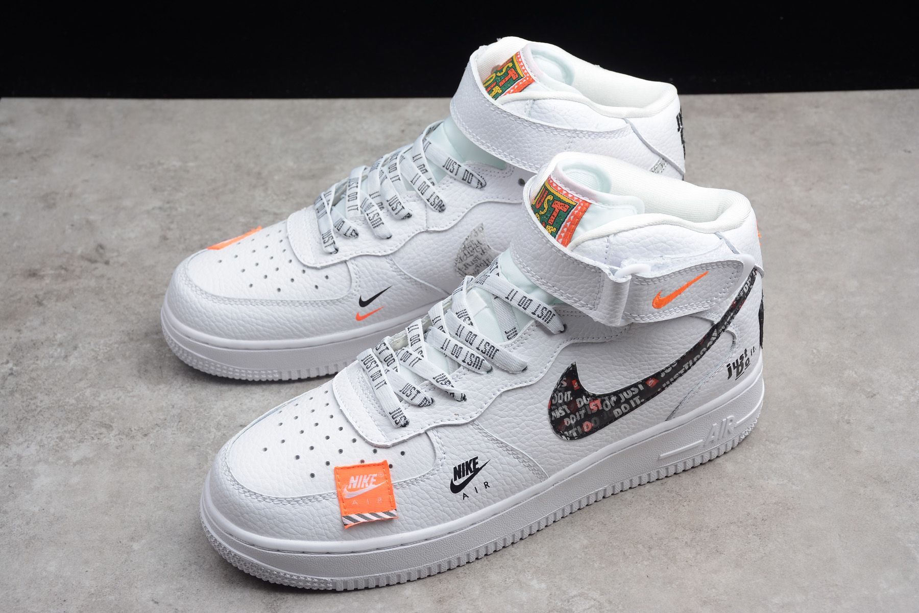 "1d129ce4af8 2018 Nike Air Force 1 Mid ""Just Do It"" White Black-Orange BQ6474-100 ..."