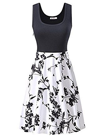 5a6511ea42da3 KIRA Women's Vintage Scoop Neck Midi Dress Sleeveless A-line Cocktail Party Tank  Dress at Amazon Women's Clothing store: