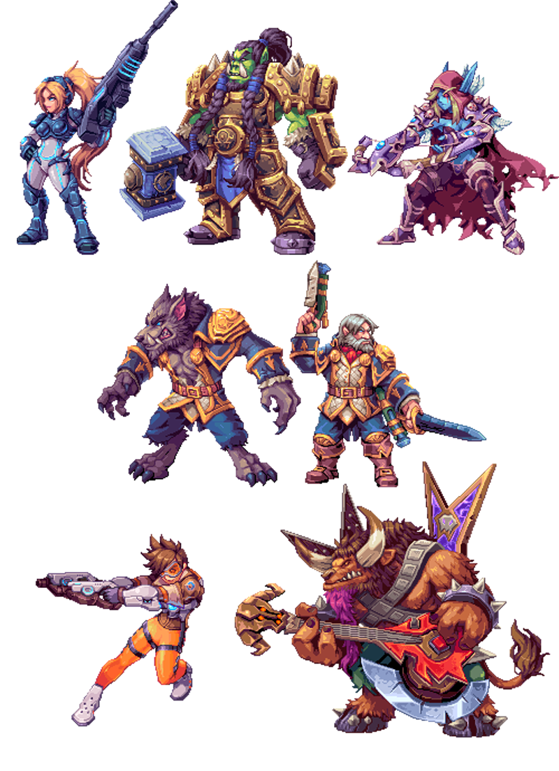 Blizzard Characters Make Awesome 2d Sprites Pixel Art Pixel Art Characters Cool Pixel Art
