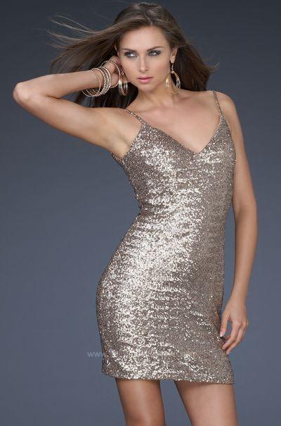 70d420fc Another image of Sexy Bronze Sequin V Neck Cocktail Dress La Femme 17023