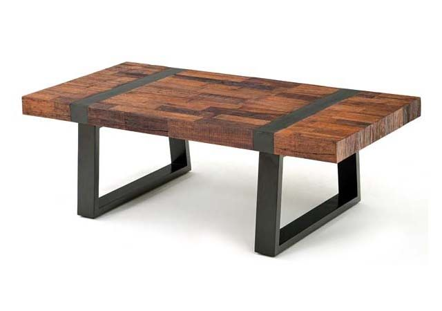 Rustic wood and iron coffee table i wonder if this could be copied with butcher block and a Rustic iron coffee table