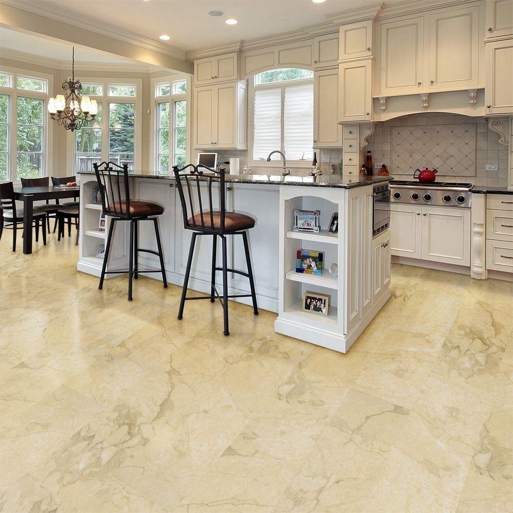 Trafficmaster allure ultra 12 in x in carrara for White kitchen vinyl floor
