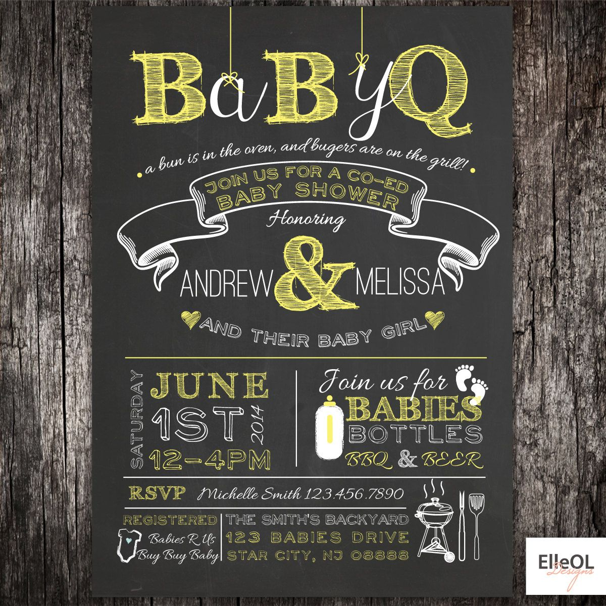 babyq chalkboard couples coed baby shower bbq invitation babyq boy girl gender neutral diy