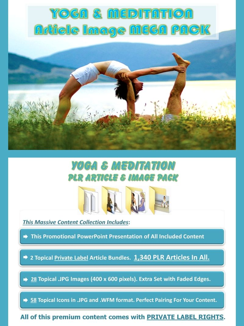 Yoga Meditation Article Image MEGA Pack Done For You Value Packed