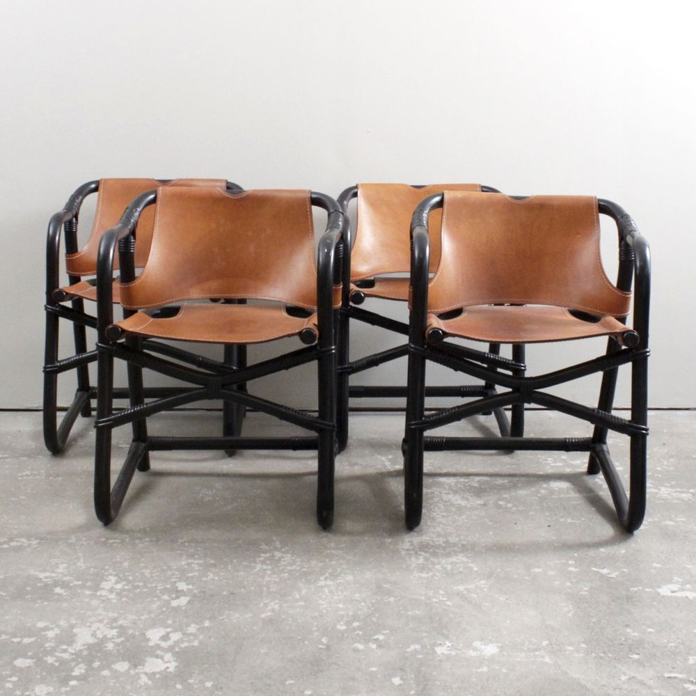 Set Of Italian Dining Chairs In Red Faux Leather By Dusty Deco