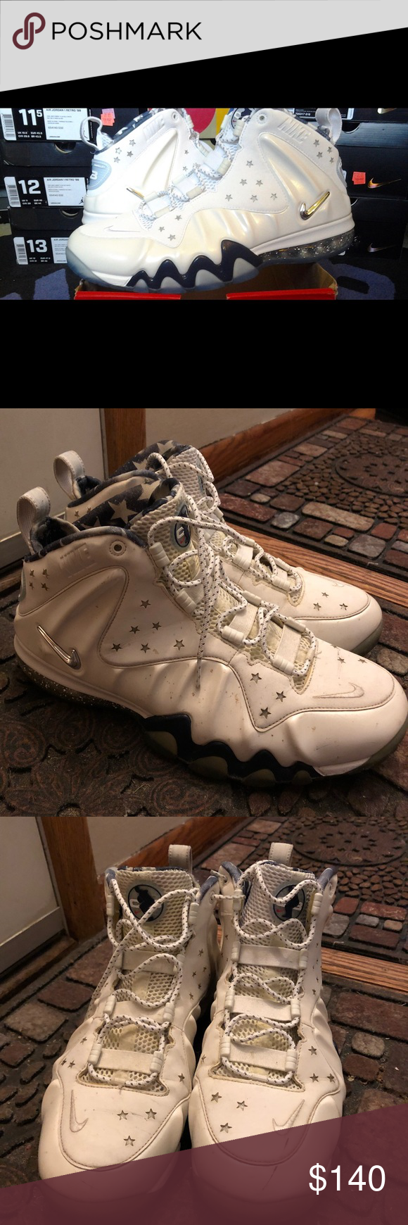 buy online 4d3e7 5a8fd Charles Barkley Role Model sz 11.5 Nike Air Barkley Posite Max PRM Premium  QS Chuckposite USA White Brand  Nike Material  Leather Style  Basketball  Shoes ...