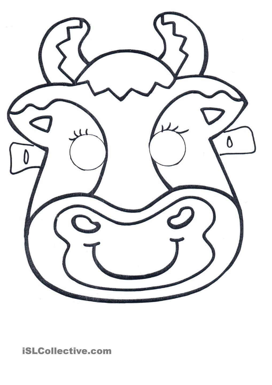 Masks Of Farm Animals Cow Mask Animal Mask Templates Animal Masks [ 1440 x 1018 Pixel ]