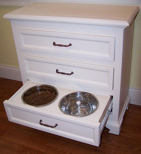 Great Pet Idea for bowl storage! Handy a nd cuted and a cure for space  issues! Tired of tripping over the bowls.