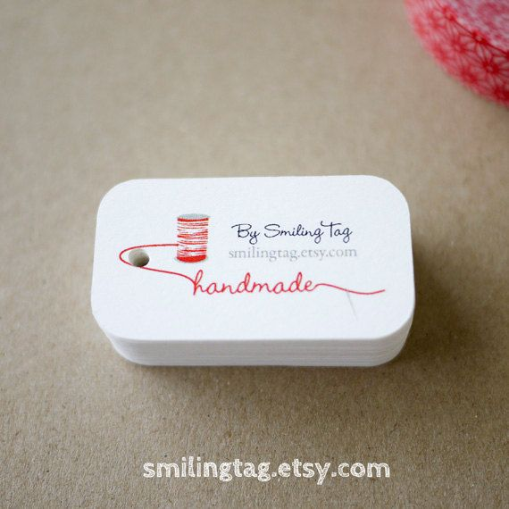 Spool and Needle Personalized Gift Tags - Handmade with Love