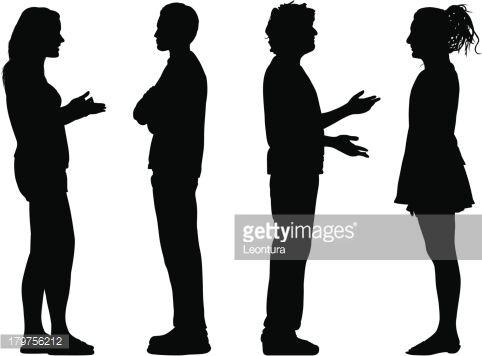 People Talking Silhouettes Silhouette People People Illustration Drawing People