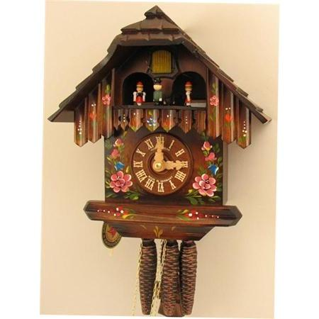 Musical Chalet Cuckoo Clock Dancers with Flowers
