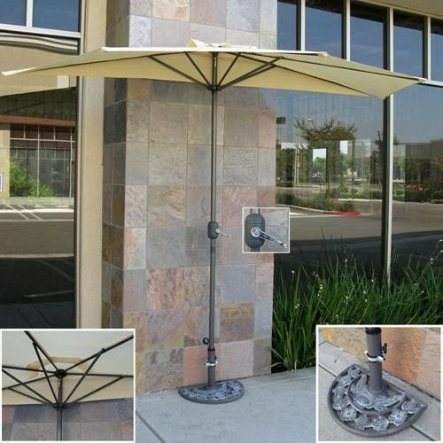 10 Ft Half Patio Umbrella Market Wall Mount Garden Sunbrella Pool Shade Bistro Patio Umbrella Stand Outdoor Patio Umbrellas Patio Umbrella