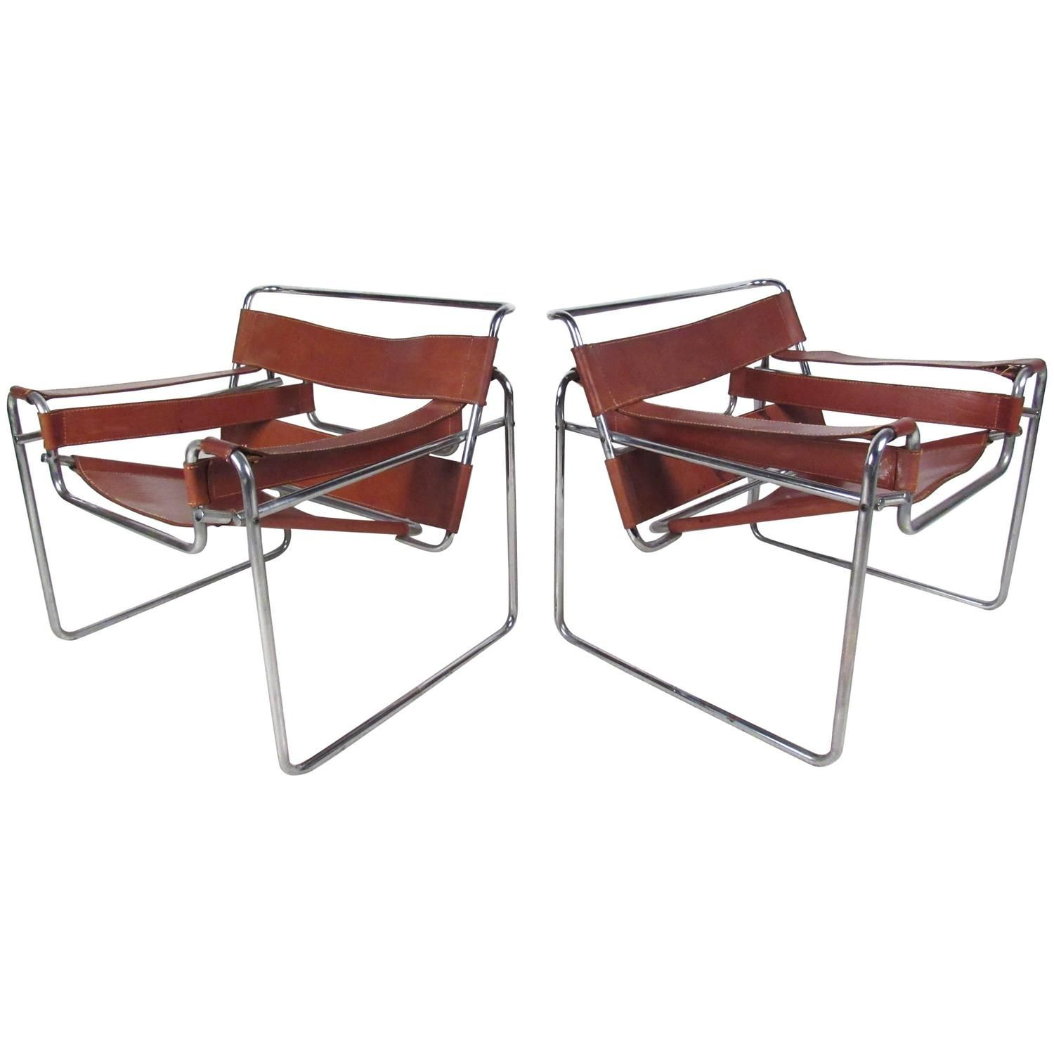 Pair Of Bruer Wassily Style Leather Strap Chairs For Sale At 1stdibs