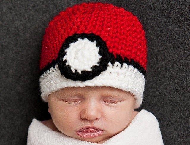 ILC CUSTOM Crochet POKEMON POKEBALL BABY BEANIE HAT Photo Prop ...