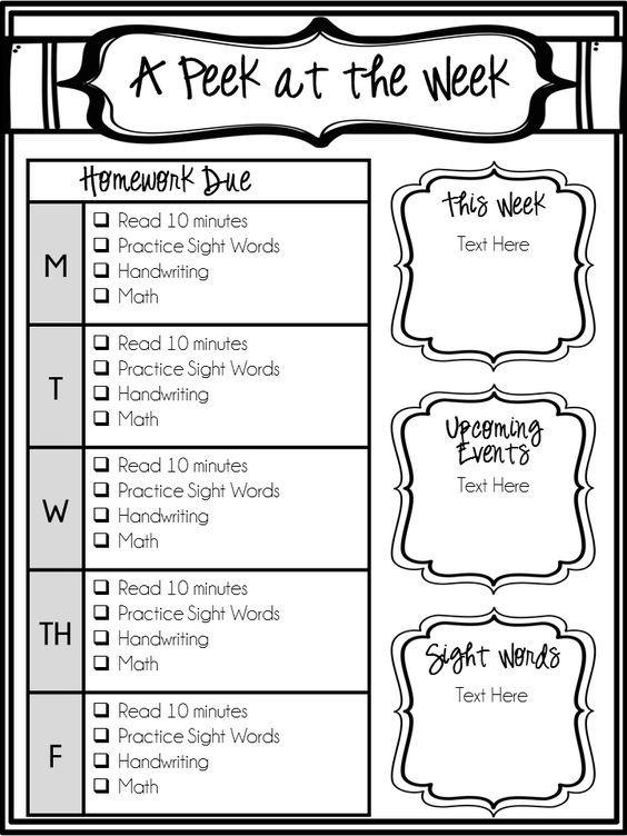 Editable Weekly Newsletter and Homework Checklist Homework