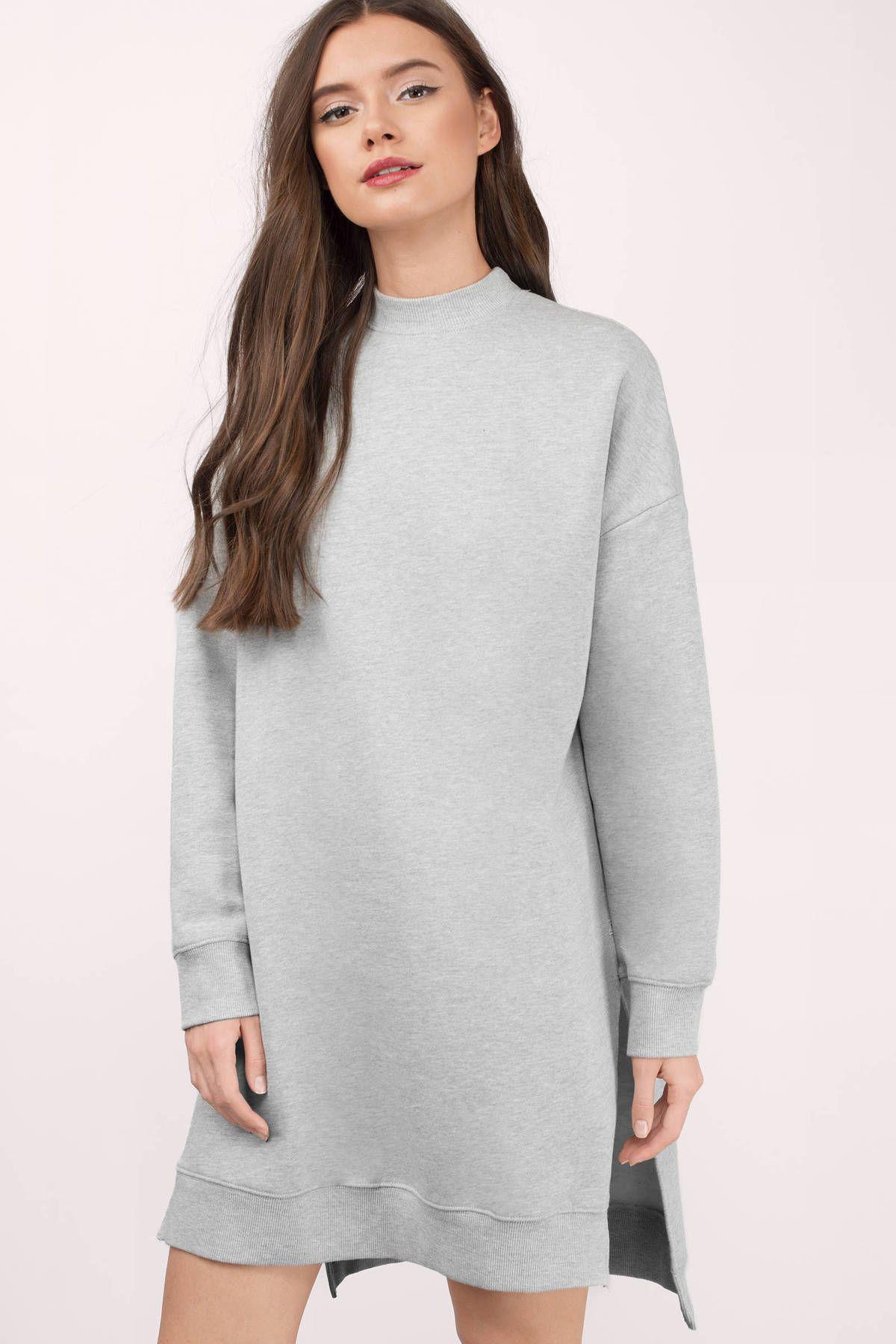 Laura Mock Neck Tunic Sweatshirt | Basic outfits, Grey sweatshirt ...
