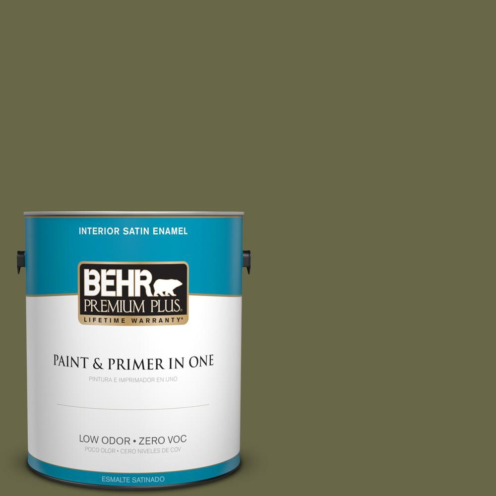 BEHR Premium Plus 1 gal. #PPU9-24 Amazon Jungle Zero VOC Satin Enamel Interior Paint