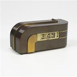 A K.E.M Weber Brass Zephyr Digital Clock
