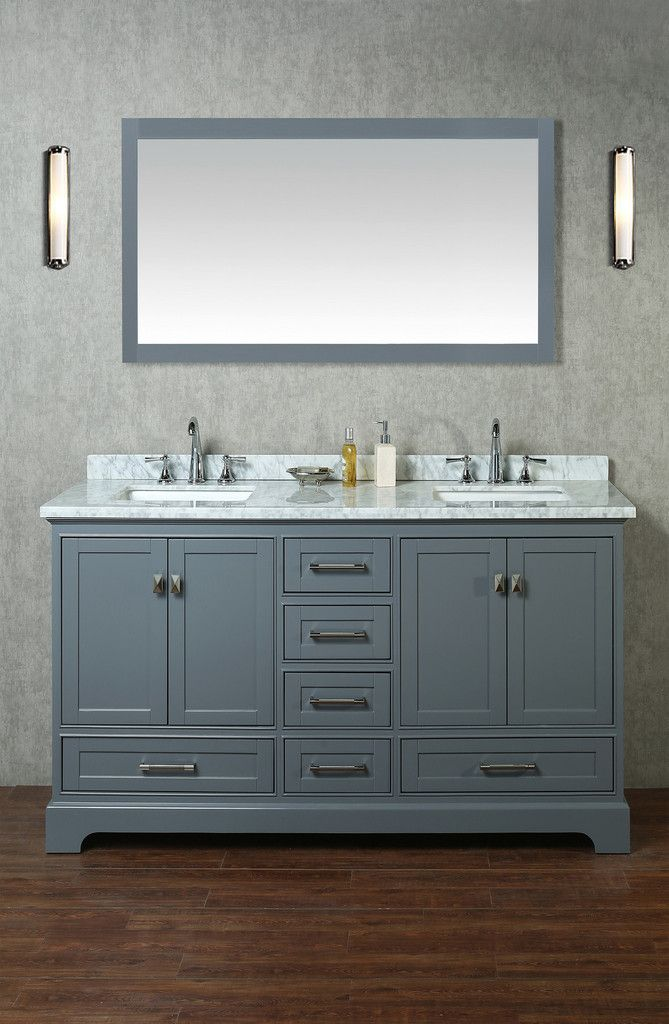 Newport 60 Inch Double Sink Bathroom Vanity With Mirror With