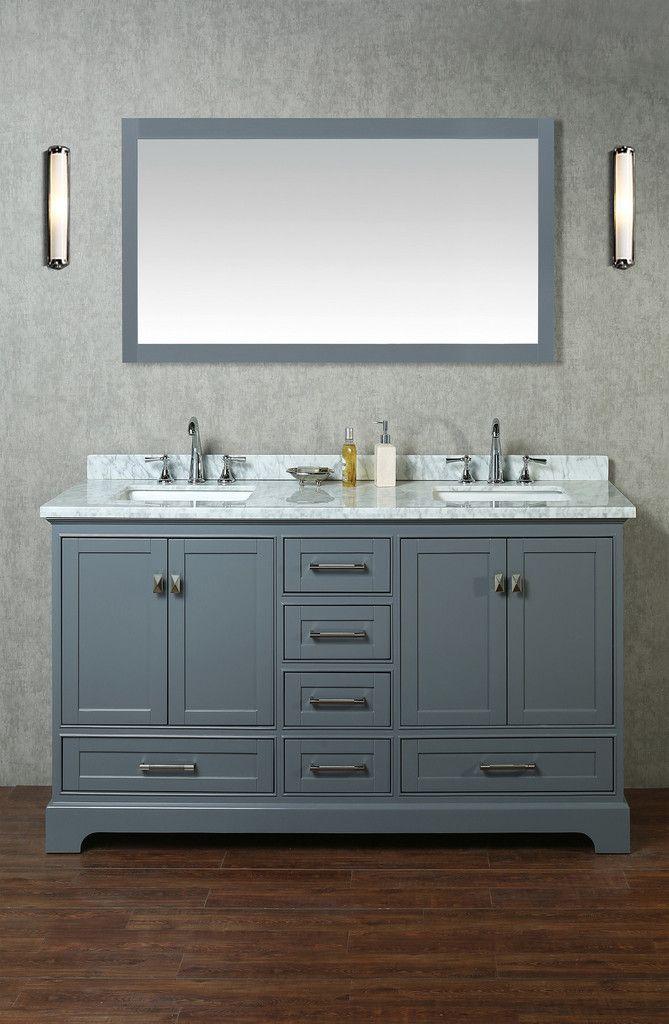 Newport 60 Inch Double Sink Bathroom Vanity With Mirror Double